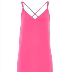 TOPSHOP Pink Cross Strap Slip Dress - Size US 4